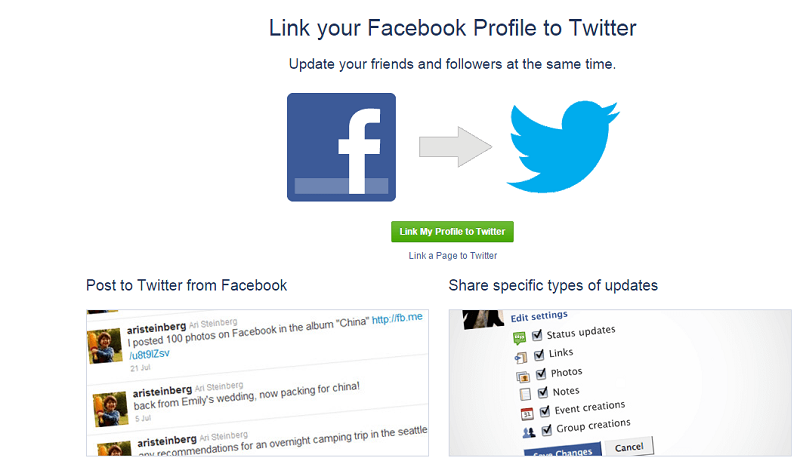 Link your Facebook and Twitter